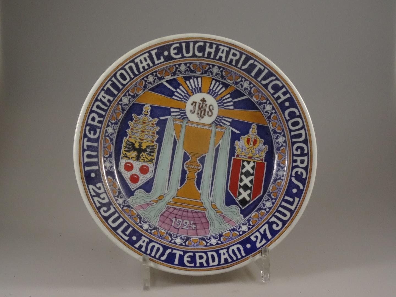 """Wandbord """"Inernational eucharistisch congres 22 - juli - Amsterdam 27 juli"""