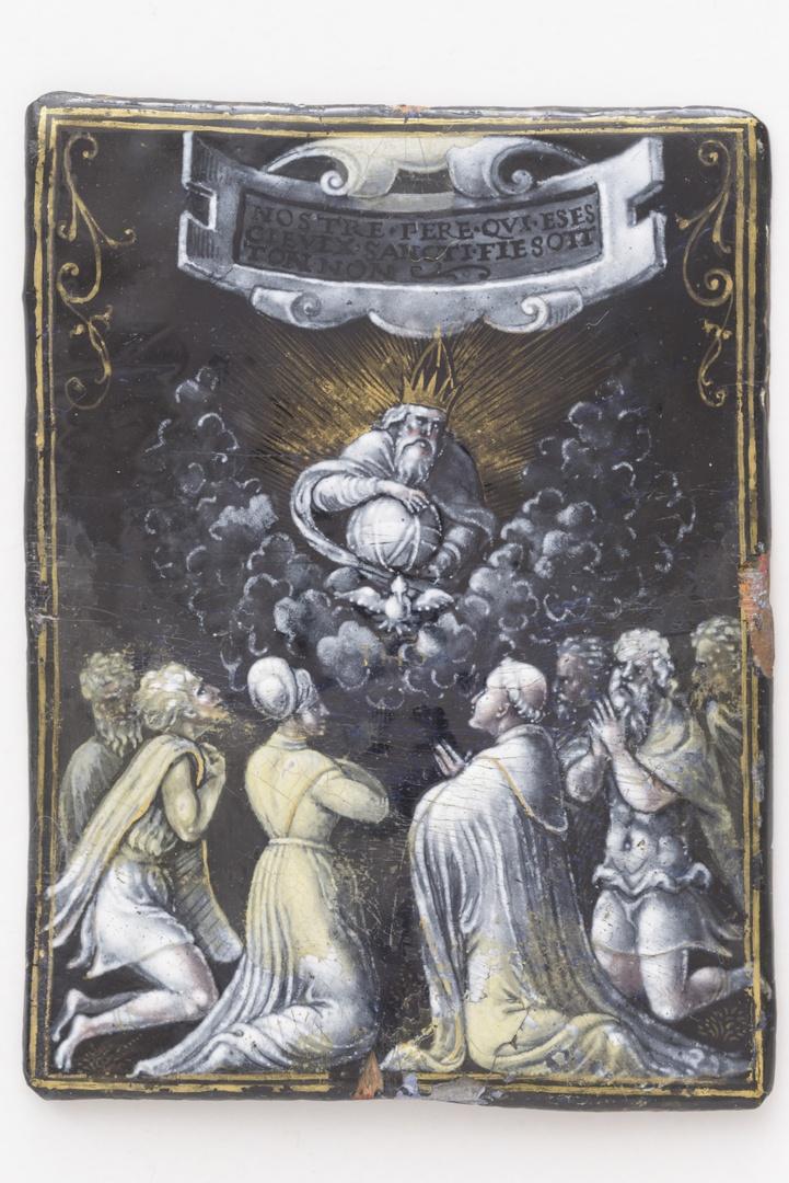 Trinitas met zeven biddende personen