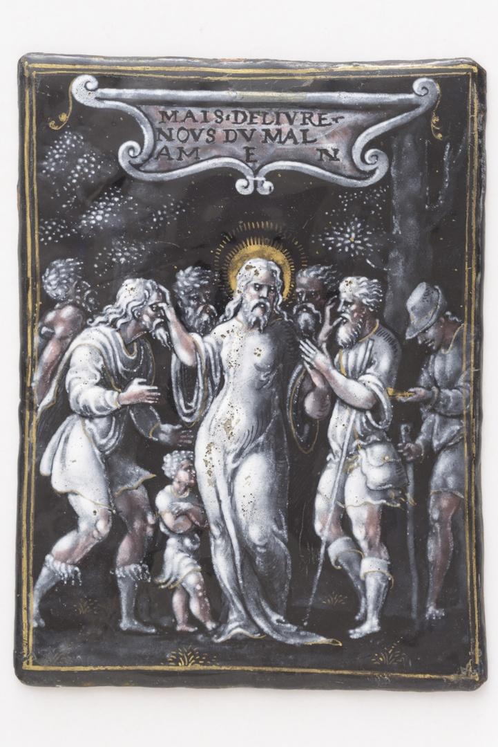 Christus die zijn hand op ogen en mond legt