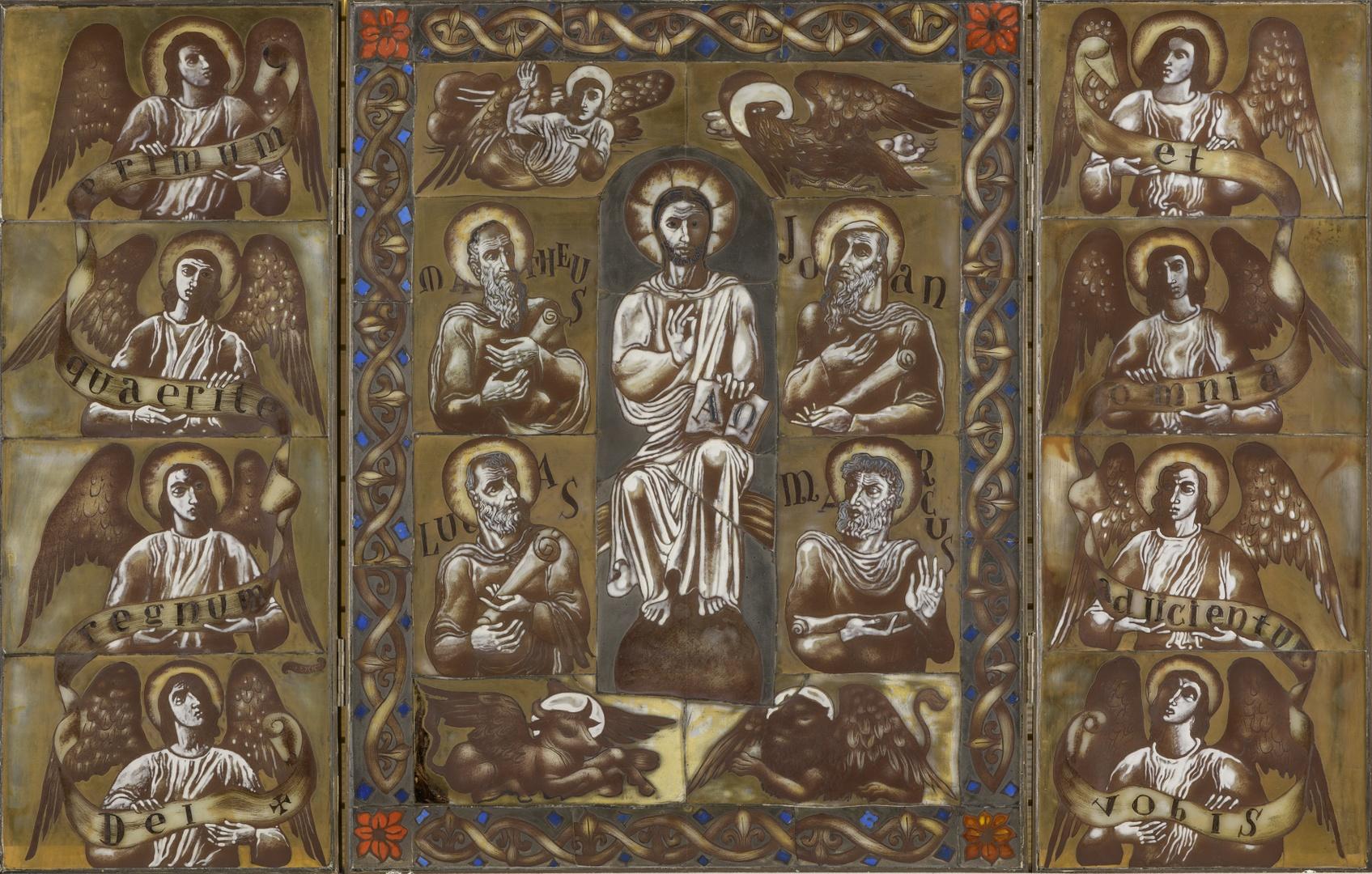 Drieluik met Christus temidden van de vier evangelisten, links en rechts vier engelen