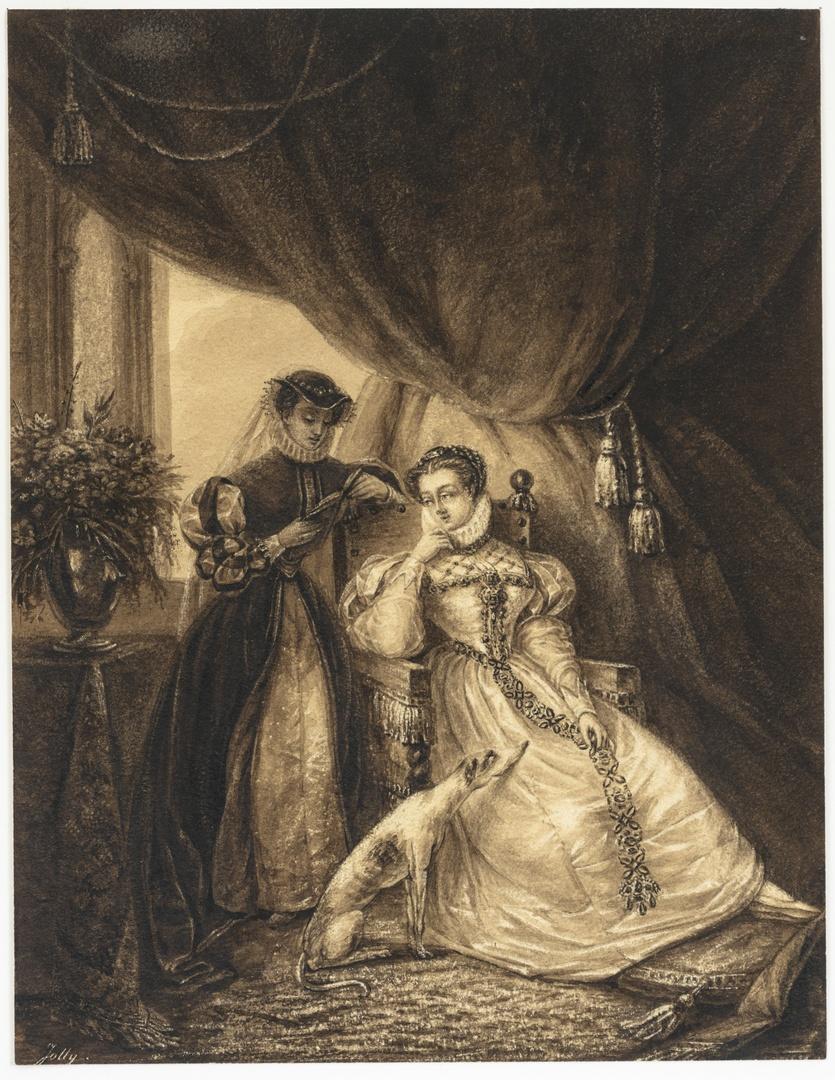 Twee dames in historische kledij in interieur