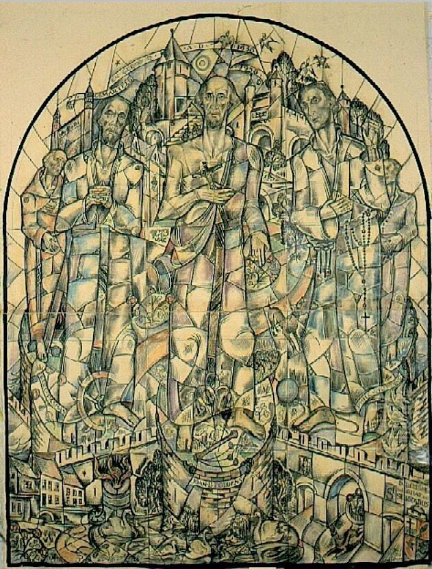 Ontwerp voor een glas in lood raam voor de hal van het Jezuitenklooster te Maastricht ; Pater Servatius Vinck, Gerardus Pasmans, Joan Boddens, Philippe Notting en kapelaan Thomas Silvius