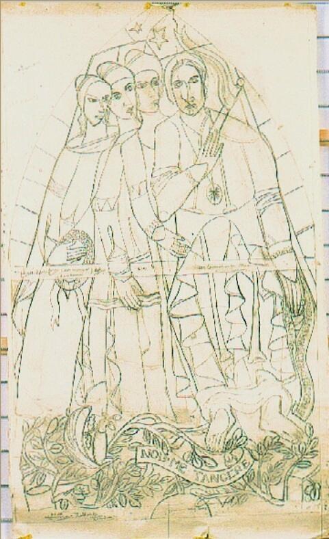 Ontwerp voor een glas in lood raam voor ziekenhuis te Hilversum ? ; Vier vrouwenfiguren, niet uitgevoerd ontwerp(?)