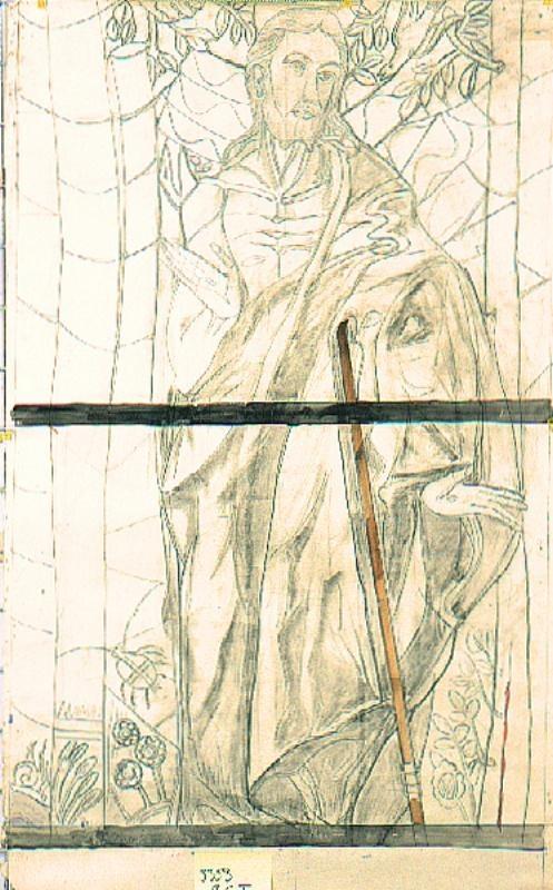 Ontwerp voor een glas in lood raam in twee delen voor ziekenhuis te Hilversum (?) in twee delen ; Verrezen Christus; voeten en kruik