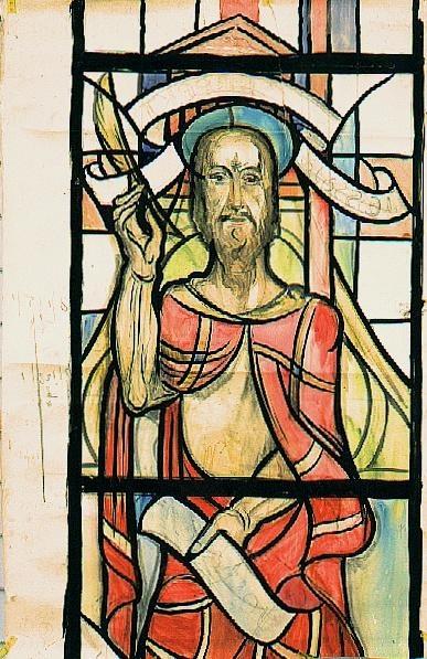 Deel van ontwerp voor een glas in lood raam voor de Sint Antoniuskerk te Bleyerheide, Kerkrade ; Jesaja. Niet uitgevoerd ontwerp