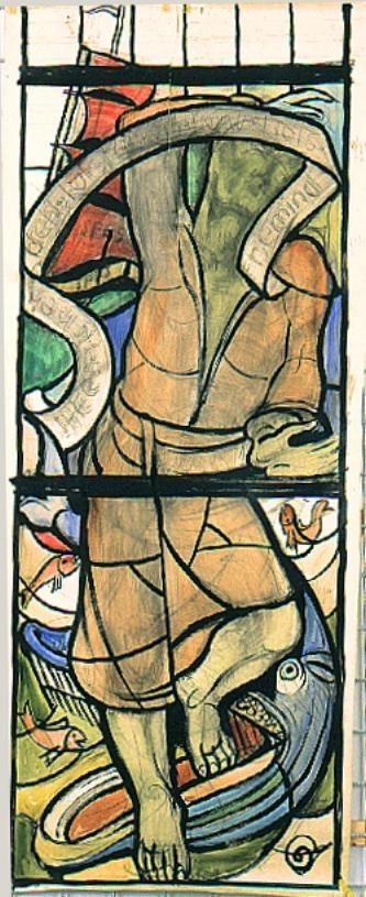 Ontwerp voor een glas in lood raam voor de Sint Anthoniuskerk te Bleyerheide ; Jonas en de walvis ?