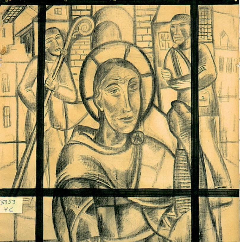 Ontwerp voor een glas in lood raam voor Sint Anthoniuskerk te Bleyerheide ; Sint Martinus. Niet uitgevoerd ontwerp