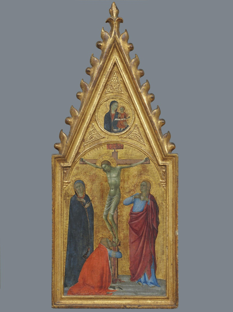 Crucifixion, with Madonna and Child in a medaillion