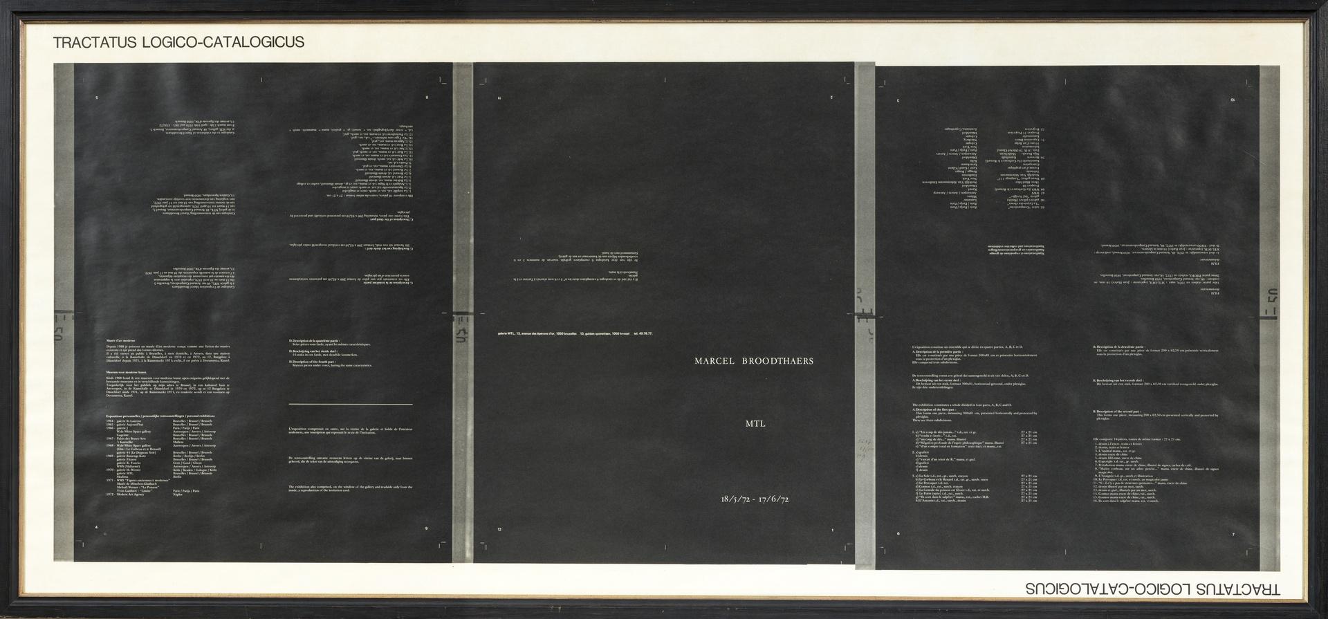 L'Entree de l'exposition: Tractatus Logico - Catalogus