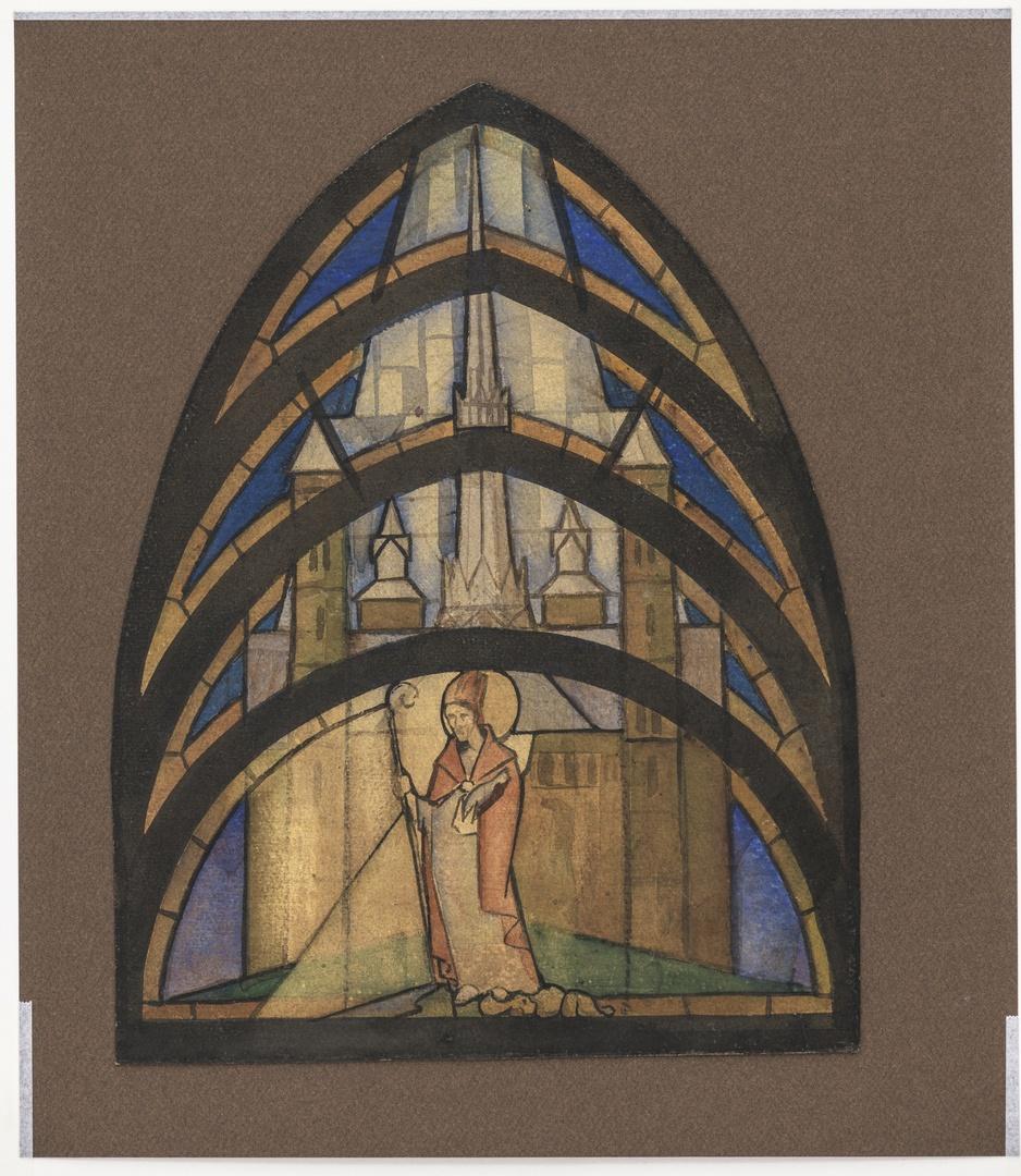 Ontwerp voor een glas in lood raam voor de H.Hartkerk te Maastricht, voorstellend St. Servaas voor de St. Servaaskerk