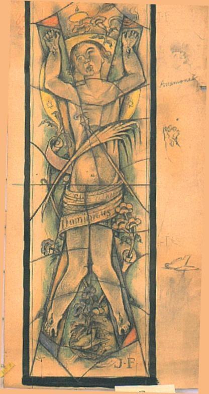 Ontwerp voor een glas in lood raam voor de Sint Jozef kerk te Broekhem, Valkenburg ; Kinder-heilige Sint Dominicus op 7 jarige leeftijd