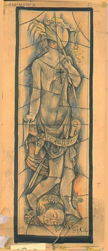 Ontwerp voor een glas in lood raam voor de Sint Jozef kerk te Broekhem, Valkenburg ; Kinder-heilige Alexander