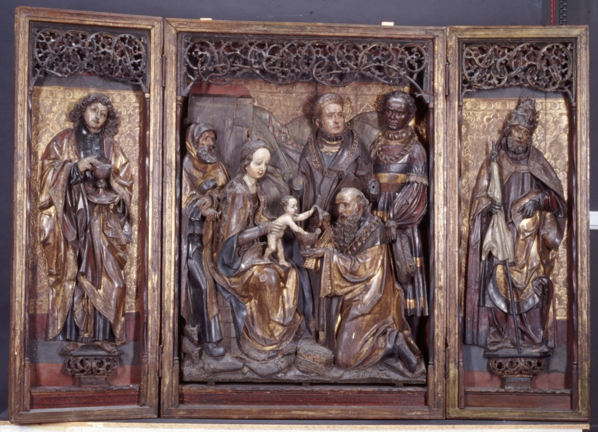 The Three Magi Retable with on the painted exterior St. Agnes and St. Genovefa of Paris