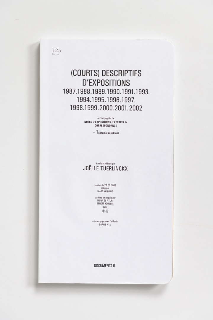 #Livrets Documenta 11: 2a - (Courts) descriptifs d'expositions 1987.1988.1989.1990.1991.1993.1994.1995.1996.1997.1998.1999.2000.2001.2002