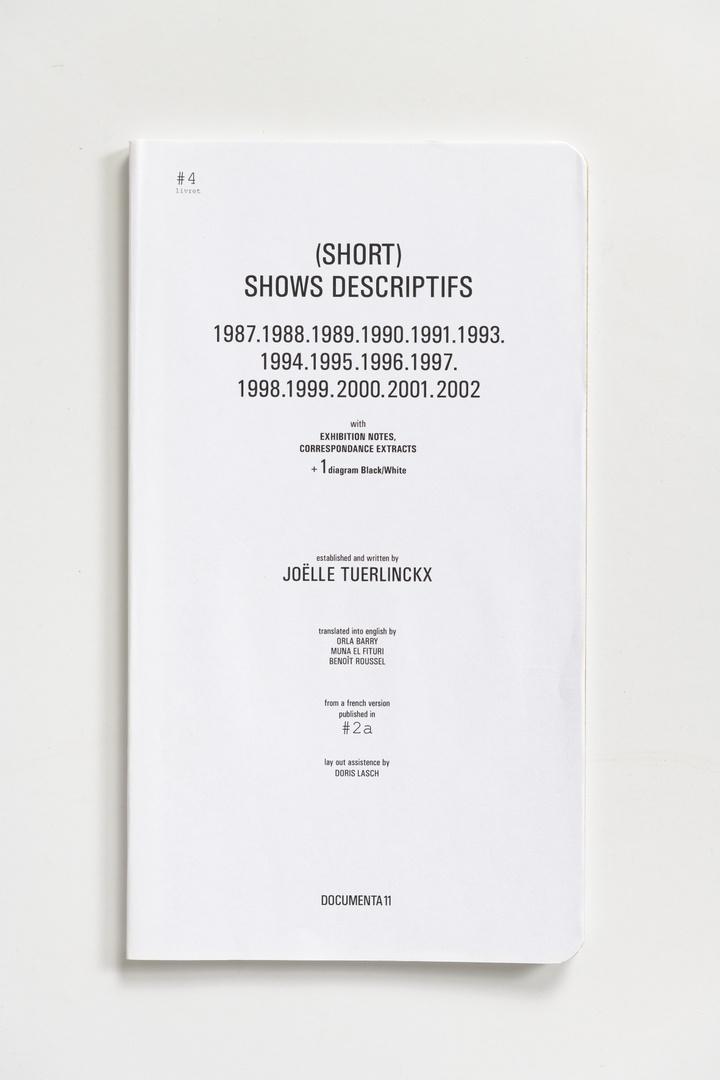 #Livrets Documenta 11: 4 - (Short) shows descrptifs 1987.1988.1989.1990.1991.1993.1994.1995.1996.1997.1998.1999.2000.2001.2002