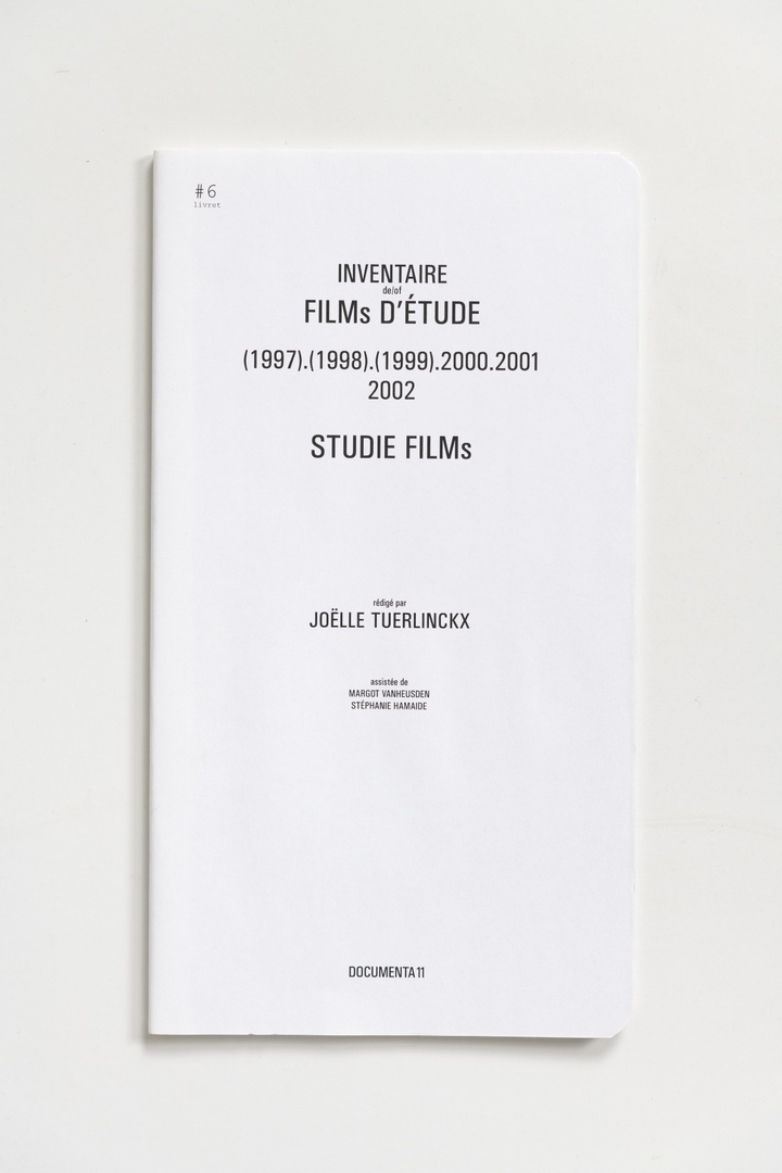 #Livrets Documenta 11: 6 - Inventaire de/of films d'etude (1997).(1998).(1999).2000.2001.2002 Studie Films