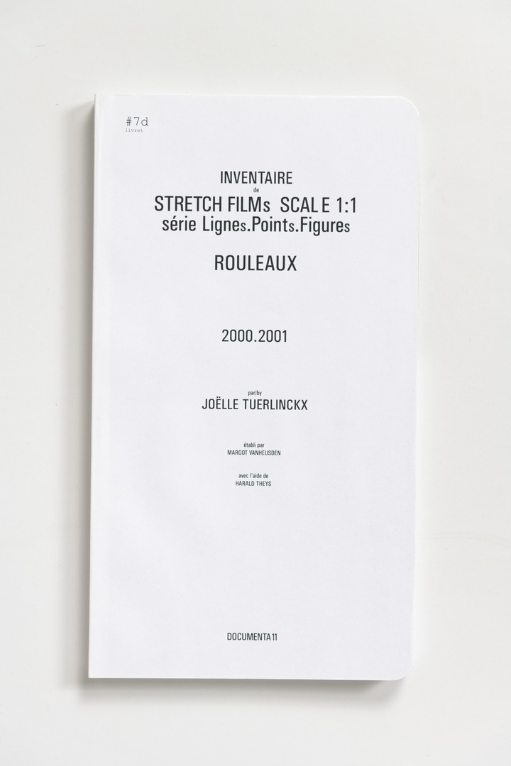 #Livrets Documenta 11: 7d - Inventaire de STRETCH FILMs SCALE 1:1 serie LIGNEs.PINTs.FIGUREs ROULEAUX 200.2001