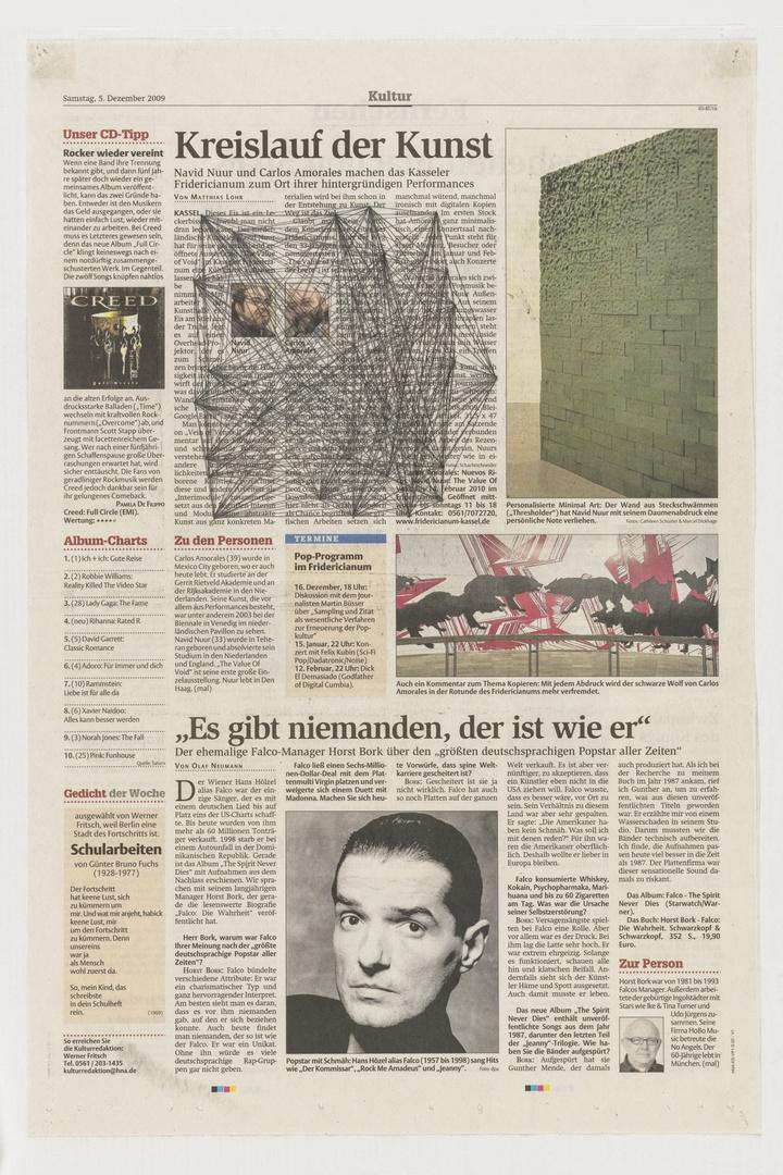 Where you end and I begin: ''Kreislauf der Kunst'  Navid Nuurand Carlos Amorules machen das Kassler Fridericianum  zum Ort ihrer hinter gründligen Performances. Uit: Kassel HNA- Kultur 05-12-2009.