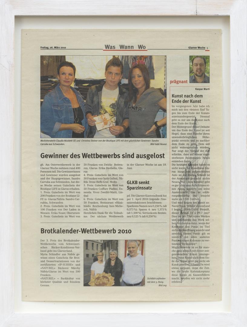 Where you end and I begin: ''Kunst nach dem Ende der Kunst.' Uit: Glarner Woche P.5. Geschreven door: Kaspar Marti op 26-03-2010.