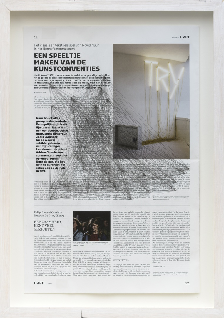 Where you end and I begin: ''Een speeltje maken van de kunstconventies.' Het visuele en tekstuele spel van Navid Nuur in het Bonnefantenmuseum. Uit: Hart P. 12. Door: Machteld Leij op 07-11-2013.