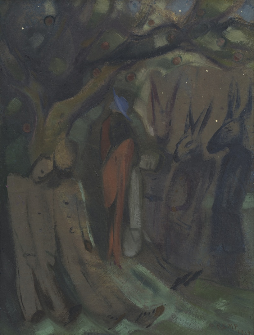 Dame onder appelboom met drie ledepoppen en drie ezels