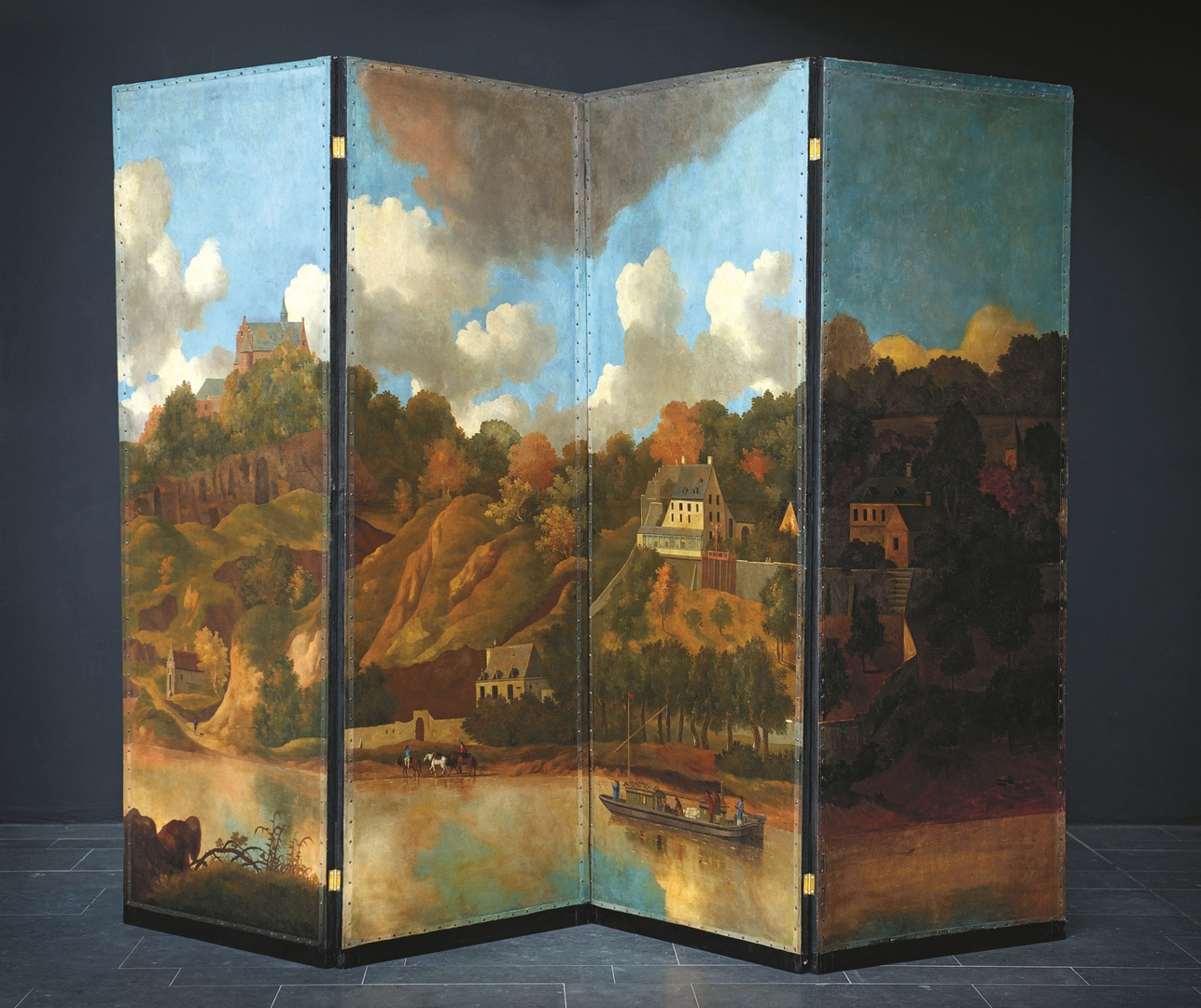 Zesslags kamerscherm met twaalf voorstellingen uit de omgeving van Maastricht