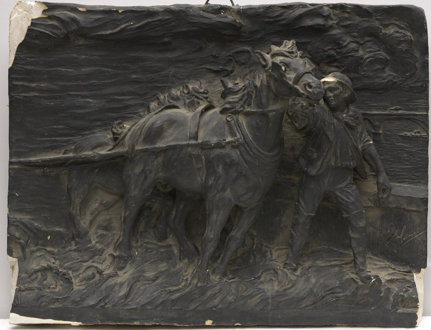 Reliëf met een span trekpaarden en Maasbrug Maastricht
