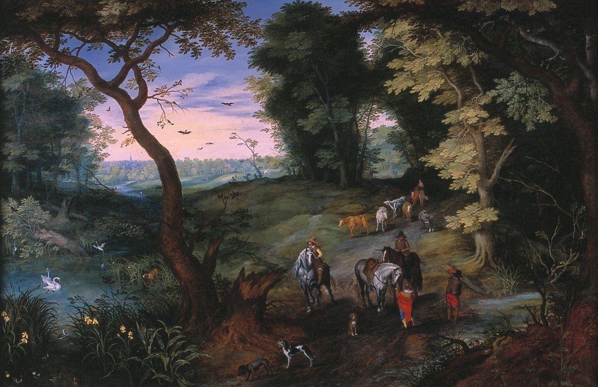 Landschap met ruiters en vee