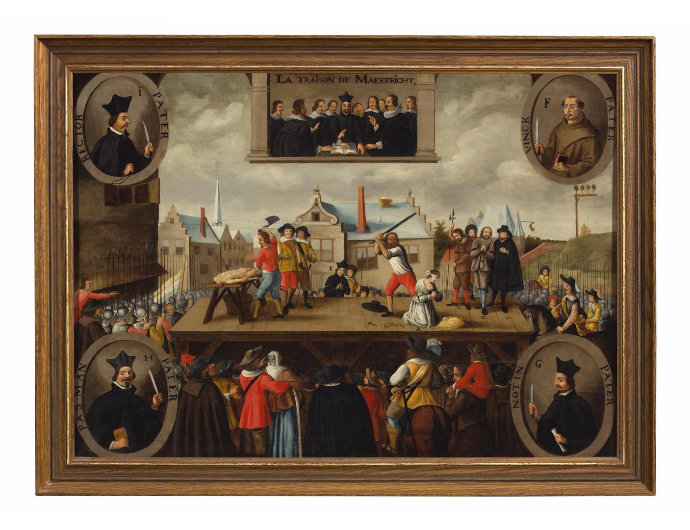 Terechtstelling der beklaagden inzake het Verraad van Maastricht in 1638. La traison de Maestricht