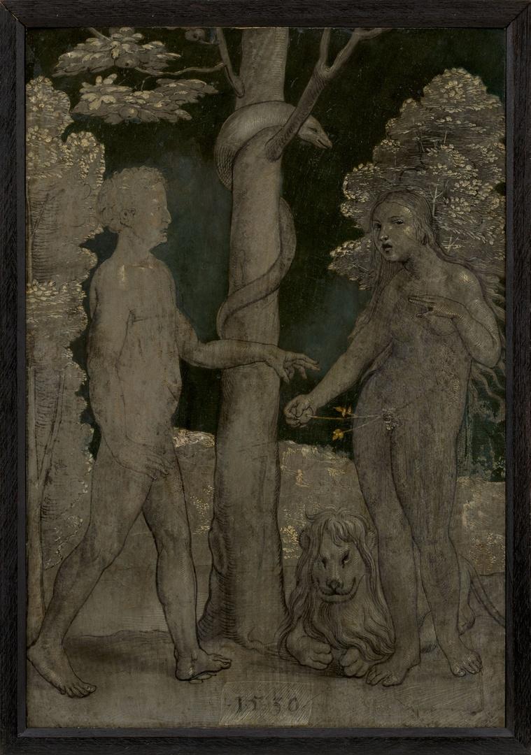 Twee luiken met de Annunciatie, (verso) de Zondeval en de Verdrijving uit het paradijs