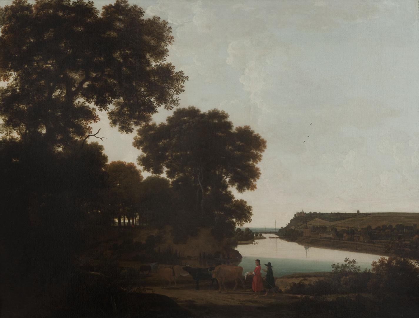 Gezicht over de Maas op Slavante bij Maastricht