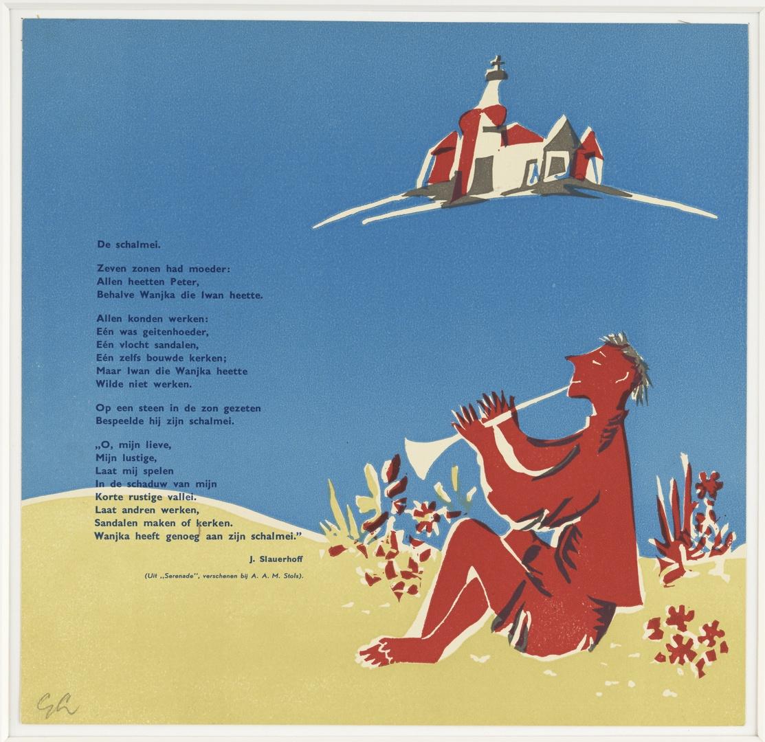 """Illustratie bij het vers """"De schalmei"""" van J. Slauerhoff"""