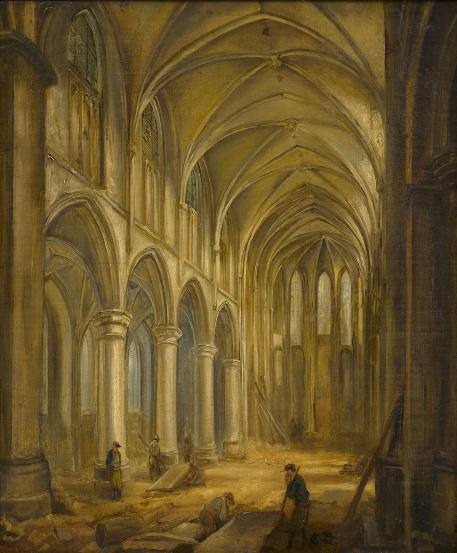 Interieur Sint-Nicolaaskerk tijdens de afbraak in 1838