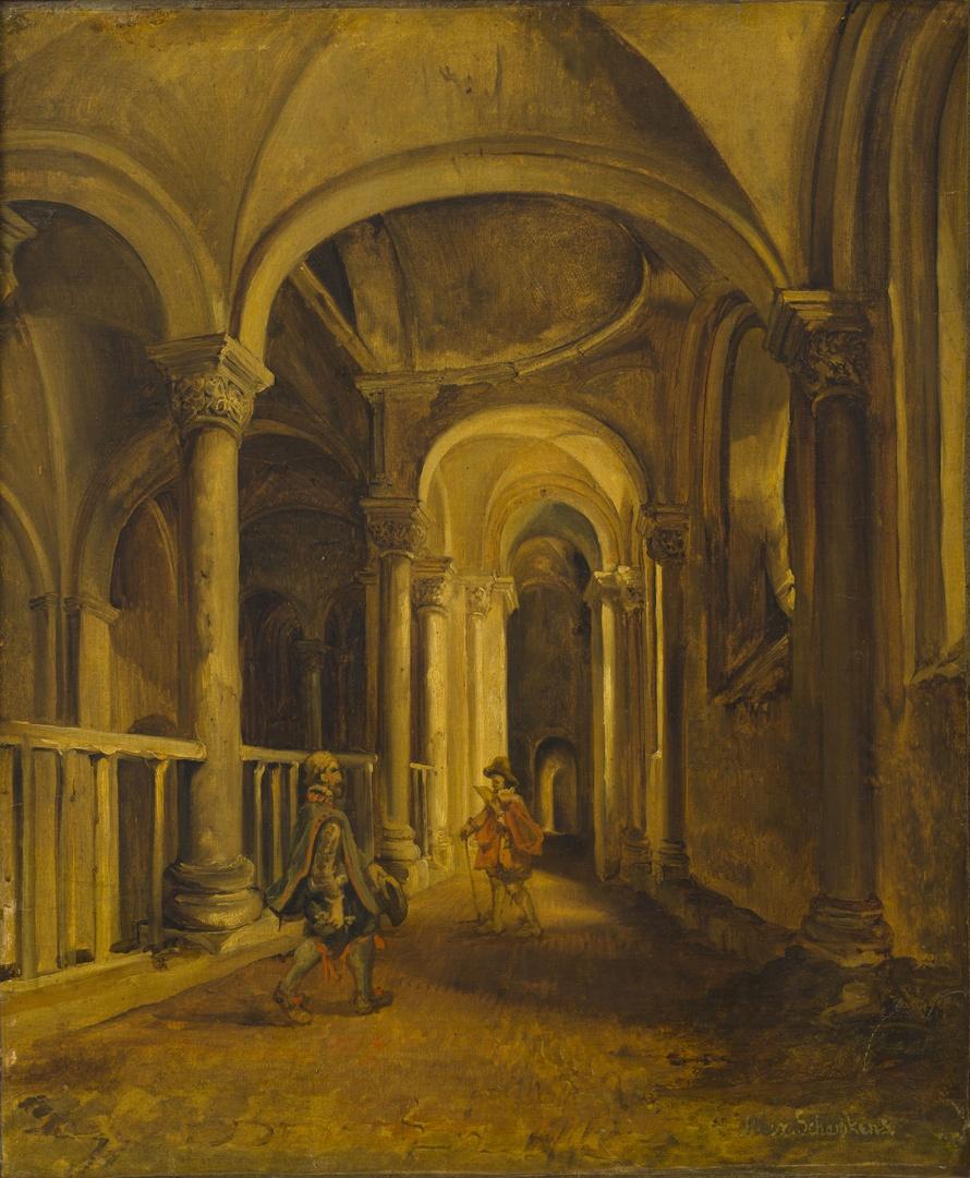 De galerij langs de westzijde van het westkoor in de Sint-Servaaskerk te Maastricht, naar het westen gezien