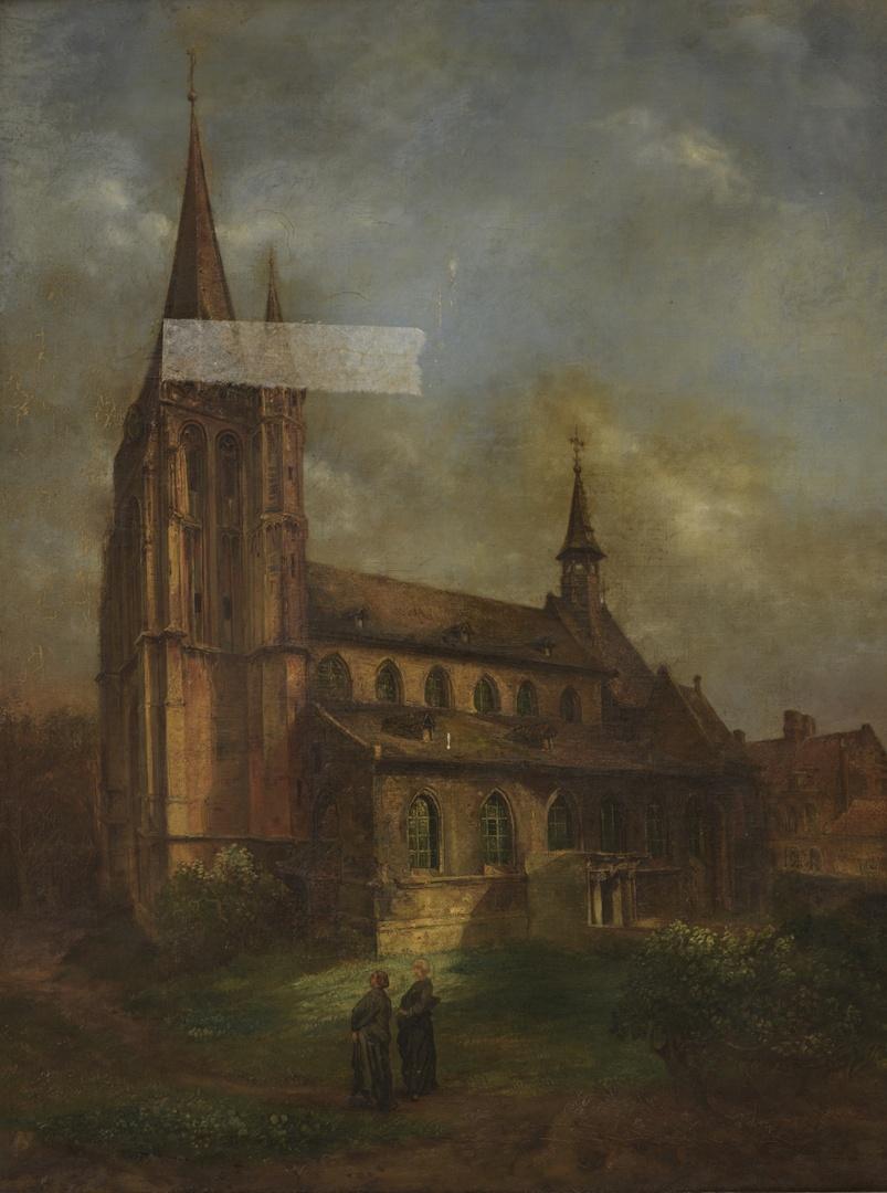Gezicht op de voormalige St. Martinuskerk (zuidzijde) te Wyck-Maastricht, afgebroken in 1854
