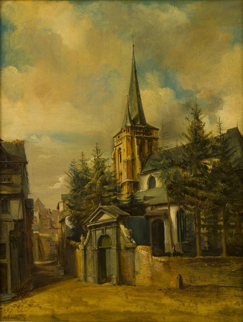 Gezicht op de voormalige St. Martinuskerk (zuidoostzijde) te Wyck-Maastricht naar het oosten