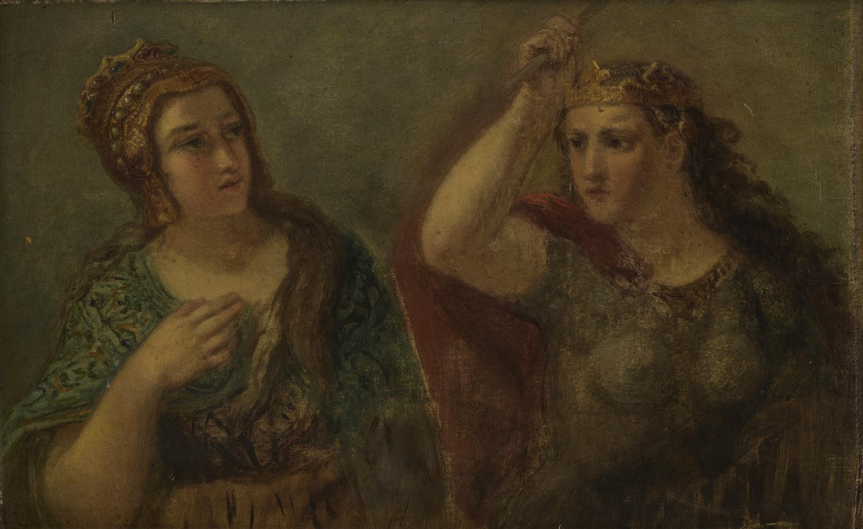 Voorstelling van twee gekroonde vrouwelijke figuren, waarvan de rechter een staf in de opgeheven rechterhand houdt