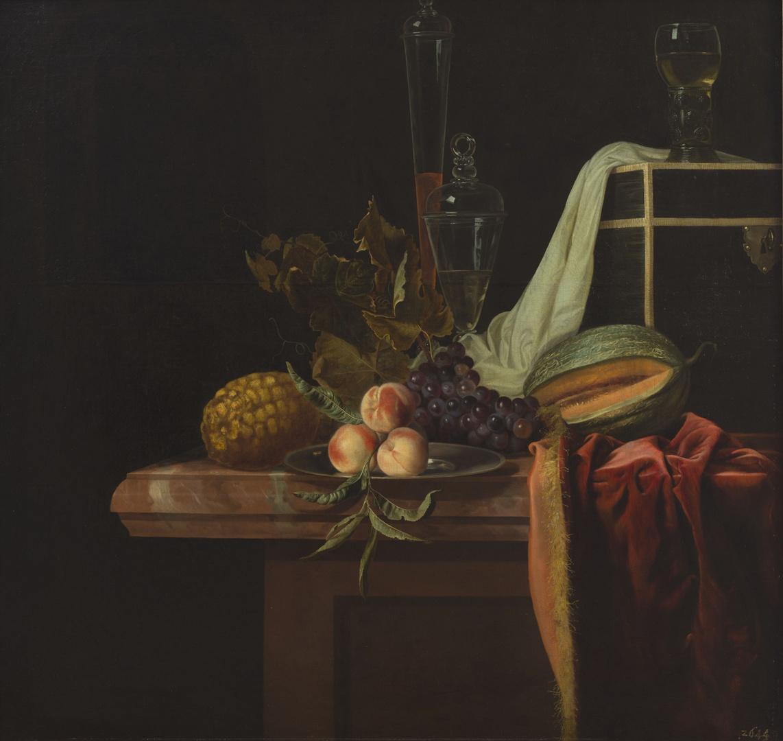 Stilleven met fruit en glas