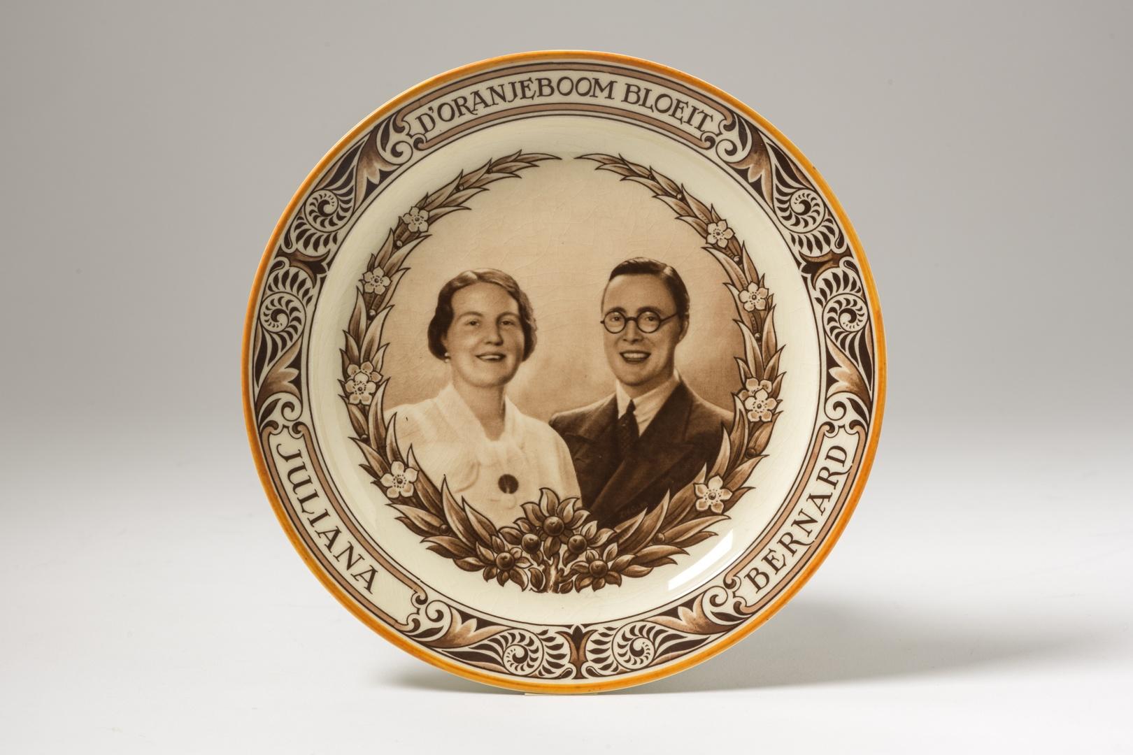 Wandbord ter gelegenheid van het huwelijk van Juliana en Bernhard