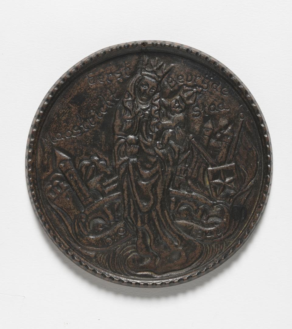 A: Plaquette, Stella Maris met allegorische voorstelling Maastricht B: plaquette allegorie der stad Maastricht