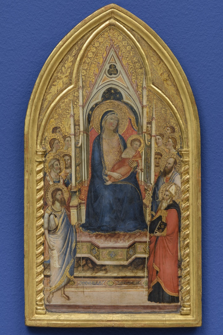 Tronende Madonna en kind met heiligen en engelen