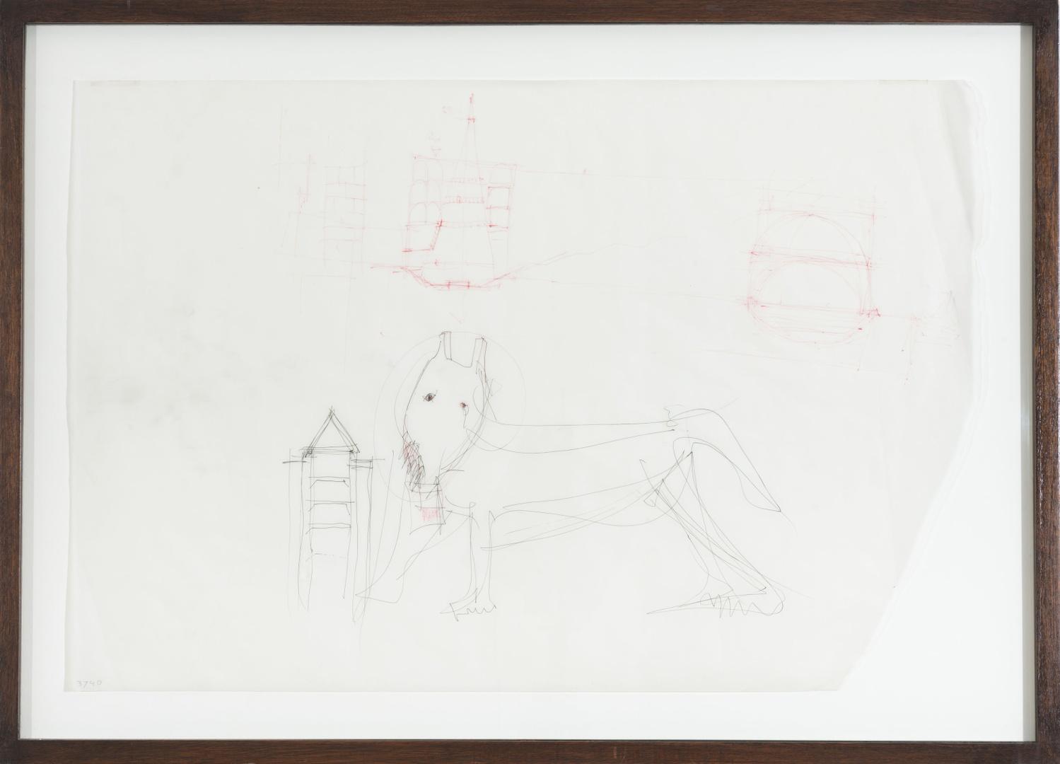 "Ontwerp Bonnefantenmuseum: ontwerpschets met hond (""esquisse du musee avec chien"")"
