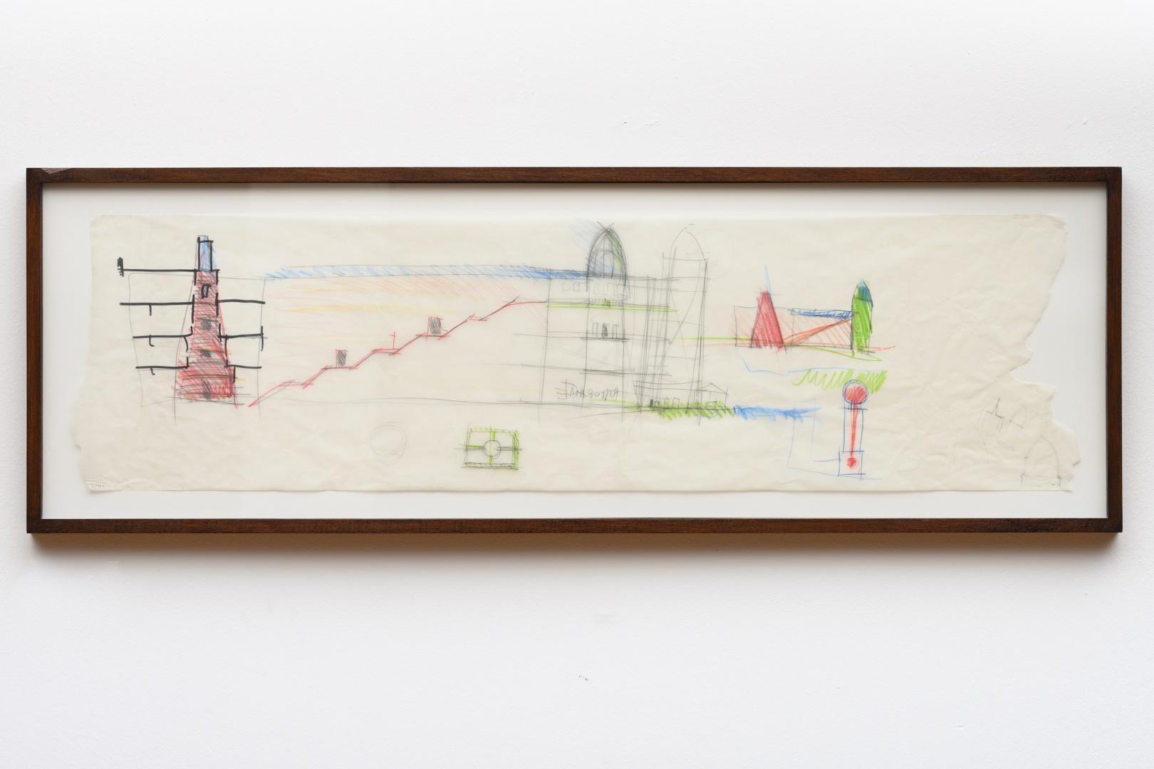Ontwerp Bonnefantenmuseum: ontwerpschets lengtedoorsnede middenvleugel