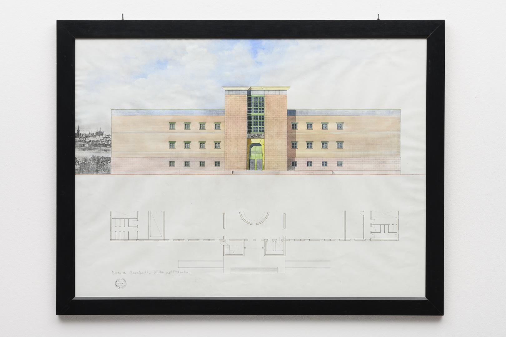 """Ontwerp Bonnefantenmuseum: oostgevel, """"Studio del prospetto"""""""