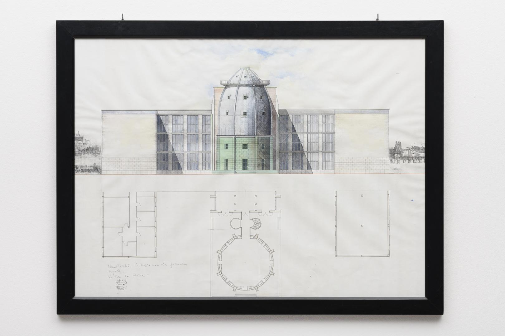 "Ontwerp Bonnefantenmuseum: westgevel, ""Il museo con la grande cupola, vista ad fiume"""