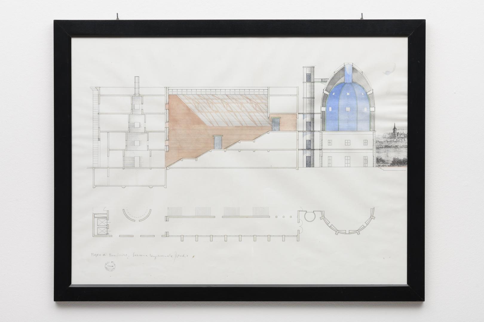 "Ontwerp Bonnefantenmuseum: lengtedoorsnede middenvleugel, ""Sezione longitudinale, studio"""