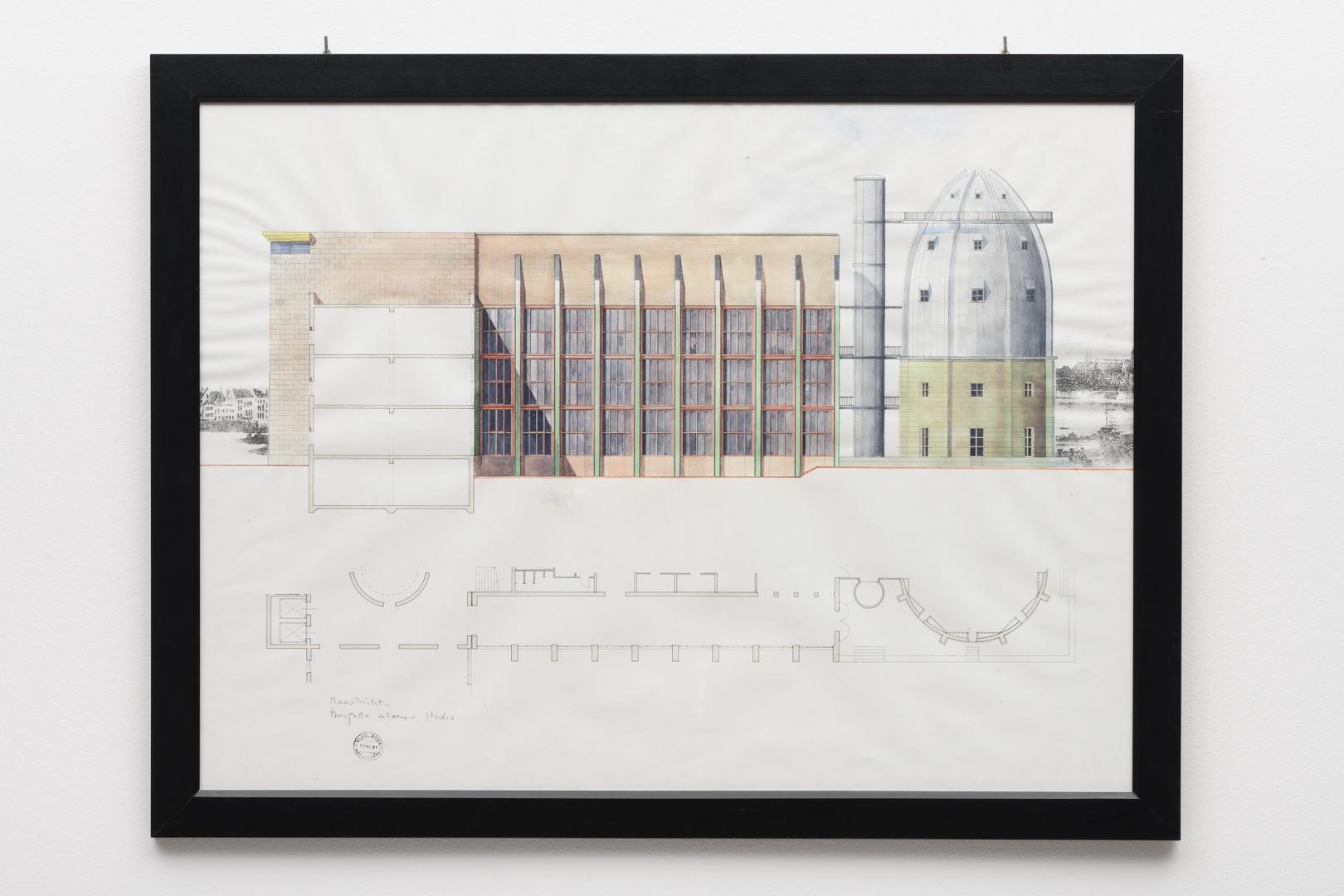 """Ontwerp Bonnefantenmuseum: zijaanzicht middenvleugel, """"Prospetto interno - studio"""""""