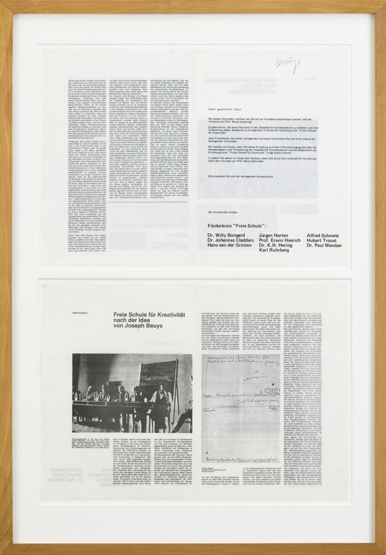 """Oproep ter bekendmaking van initiatief en tot steunbetuiging van """"Freie Schule für Kreativität"""" door Förderkreis """"Freie Schule"""", 4 blz, afbn. Bevat op blz 2-4 overdruk van artikel door D. Koepplin."""