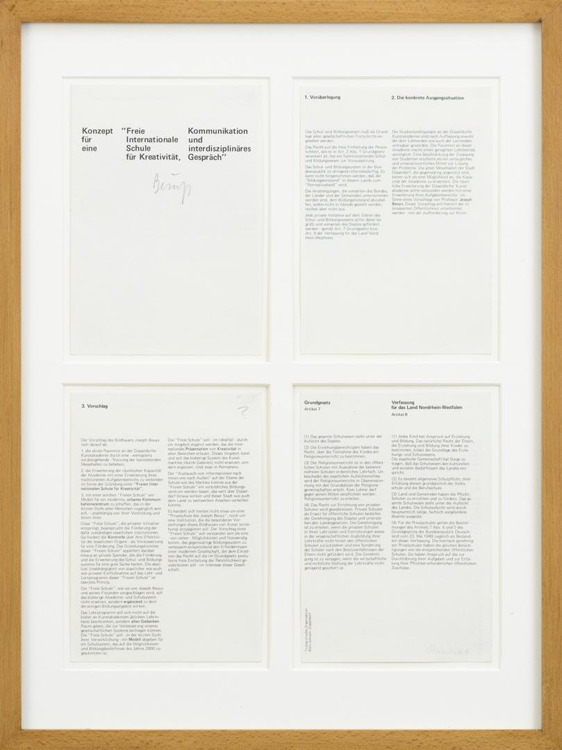 """Pamflet:"""" Konzept für eine """"Freie Internationale Schule für Kreativität, Kommunikation und interdisciplinäres Gespräch"""", Düsseldorf, Freie internationale Schule enz, z.j. 4 blz."""