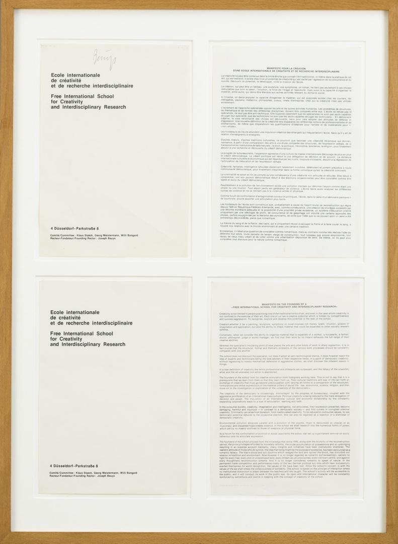 Onvolledige brochure Freie Schule: Ecole internationale/Free International School bestaande uit 2 titelpagina's (1 gesigneerd) en 2 manifesten in engels en frans.